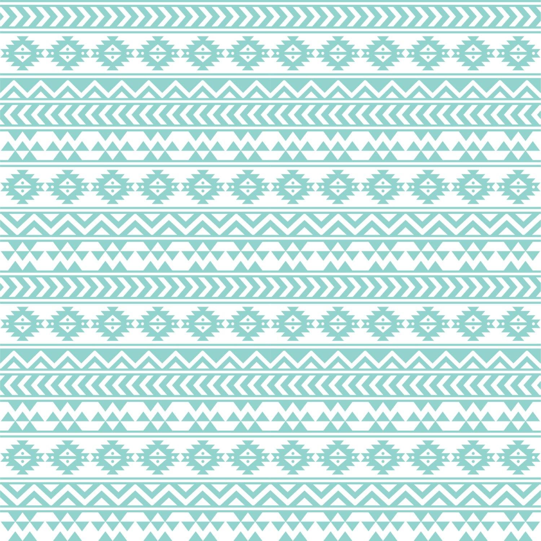 Mint And White Tribal Pattern Adhesive Vinyl Sheet Aztec