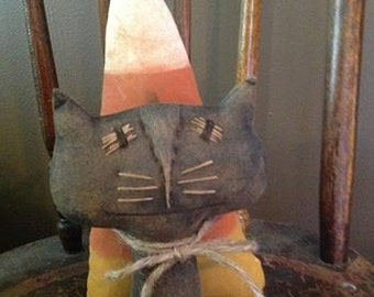 Primitive Stuffed Creepy Black Cat with Candy Corn Halloween Craft