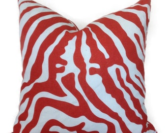 "Decorative Pillow Cover- Linen Throw Pillow Cover-Designer print ""Morocco Zebra"" Red on Ivory-100% Linen"