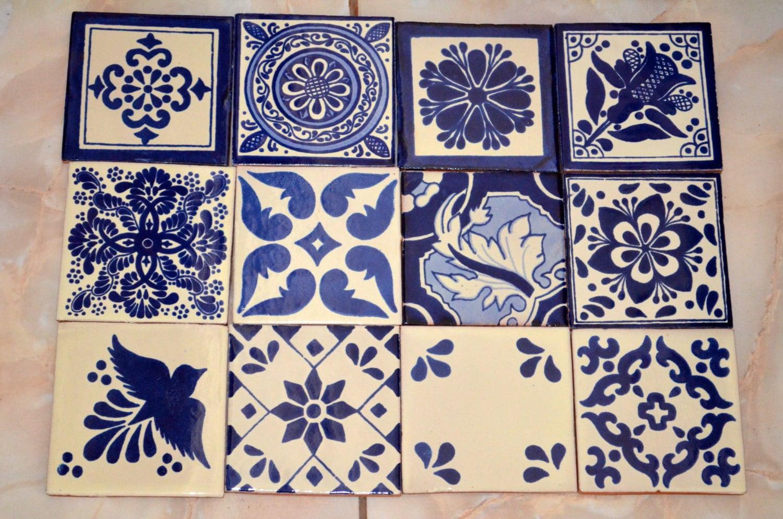 24 azulejos mexicanos pintados a mano 4x4azul y blanco for Azulejos mexico