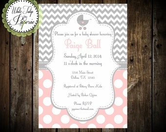 Pink and Gray Baby Shower invitation, Chevron and Polka Dot Baby Shower Invitation, Girl Baby Shower invitation, Digital shower invitation