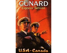 """CUNARD LINES Express-USA Canada -Retro Ship Travel Poster -available in 4 sizes up to 24""""x36"""" -Ocean Liner British Cruise Art Print 210"""