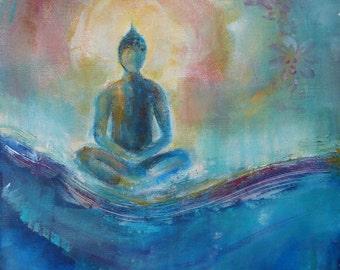"Buddha Fine Art Print on Canvas ""Self Realization"" 12 x 16 "" Blue Buddha Wave Ocean Lotus Spiritual Art Meditation"