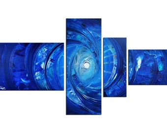"""Acrylic, abstract blue painting, Original Art by RK: """"BLUE PATTERN"""", Gallery of modern & contemporary  Art The Artmakers"""