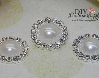 5 pcs 15mm Pearl Rhinestone Embellishment Flatback Headband Supplies Crystal flower centers Bridal supplies 269020