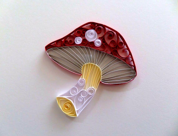 Quilled Paper Mushroom For Home Decor