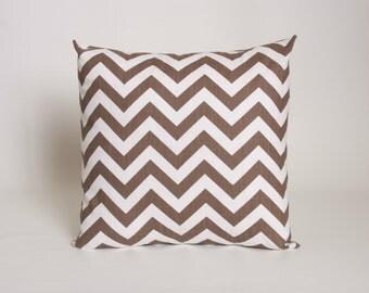 "Italian Brown Pillow Cover, Premier Print ZigZag in Drew Slub Cotton Fabric, designed for 16"", 18"", 20"" or 22"" standard insert"