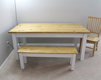 Farmhouse Table / Farm Table Golden Oak / White