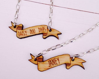 Personalised Wooden Banner/Scroll Name Necklace