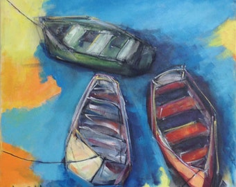 Three Boats - Original Art Acrylic 18 X 18 Painting on Canvas