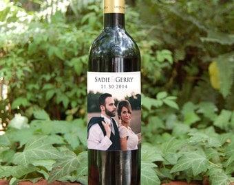 Custom Wedding Wine Bottle Labels Weatherproof Removable Wedding Personalized