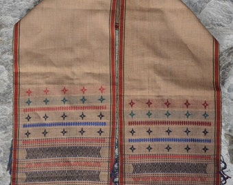 Tribal Handwoven Cotton Blanket Naga rust and cream antique, original