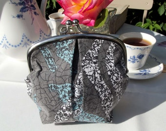 Upcycled grey abstract print clasp purse