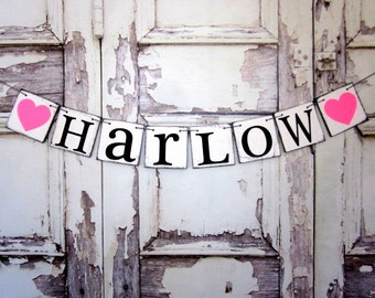 NAME BANNERS - CUSTOM Rustic First Name - Last Name Signs - Baby Shower Decorations - Personalized Signs