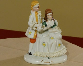 Colonial Porcelain Figurine of Couple Enjoying Tea