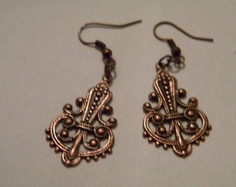 long pretty dangle copper earrings