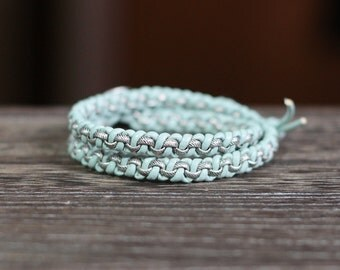 Leather Chain Double Wrap Bracelet - Light Blue Leather and Antique Silver Rolo Chain