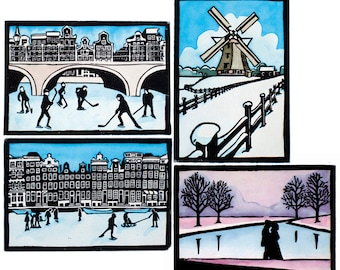 Dutch winter prints, set of 4 original handmade, painted lino prints: frozen canals, lake, windmill, limited edition. Mounted, unframed.
