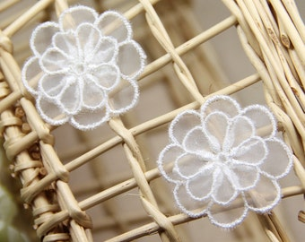 ON SALES!!! 5 PCS 2 Tiers Off White Embroidery Lace Organza Craft Flowers