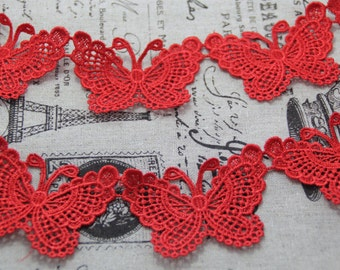 Butterfly Lace Trim, Red Butterfly Lace, Venice Butterfly Lace, Red Lace Trim