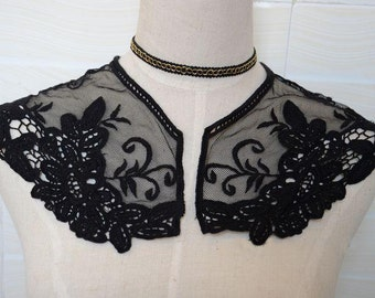 Sewing Altered Couture Art, Embroidery Mesh Lace Collar, Black Lace Collar, Collar Lace Applique