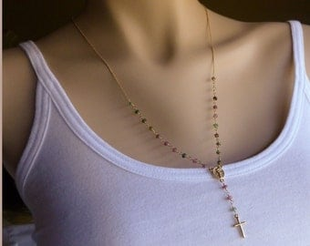 Gold Rosary Necklace, Multicolor Watermelon Tourmaline Rosary Style Necklace