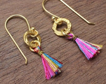 multi color  cotton dangle earrings with hand textured brass hoop