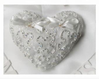 Crystalised wedding ring cushion / pillow