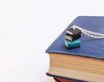 Subtle Colour Book Stack/ Pile of Books Necklace- Black, Teal & Blue Leather - Miniature Handcrafted Books Necklace - OOAK