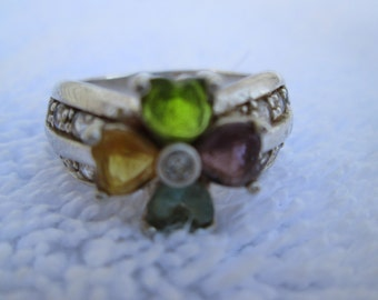 STERLING FLOWER RING, hippie flower ring, vintage silver band, silver band with stones, multi gem ring, vintage flower ring, silver fower