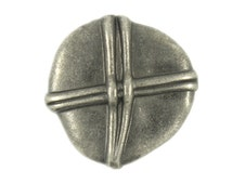Metal Buttons - Looped Stone Metal Shank Buttons in Nickel Silver Color  - 18mm - 11/16  inch - 6 pcs
