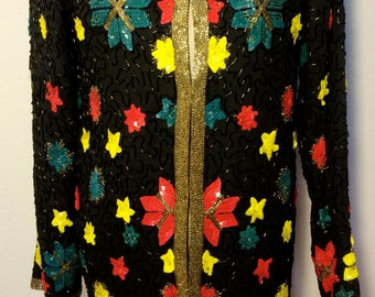 FREE SHIPPING   1980's Beaded Sequins Jacket