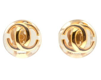 Authentic Vintage CHANEL CC Lucite Studs