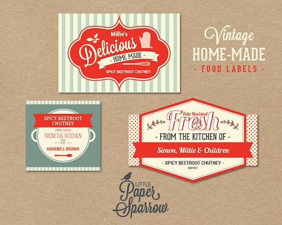 EDITABLE Vintage Food Labels - INSTANT DOWNLOAD - Printable Christmas ...