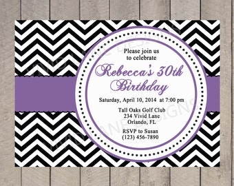 Adult Birthday Invitation, Black and White, Purple, 21st, 25th, 30th, 35th, 40th, 45th, 50th, 60th, 65th, 70th Chevron 6006