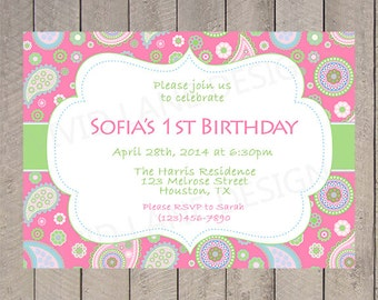 Paisley Birthday Invitation, First Birthday, Pink, Green and Blue, 1st, 2nd, 3rd, 4th, 5th, 6th, First - K064