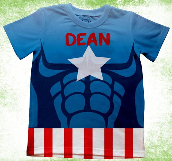 Personalized captain america inspired t shirt boys superhero Boys superhero t shirts