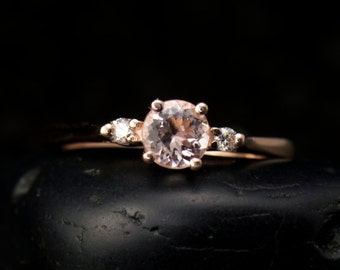 Piper - Morganite and Diamond Engagement Ring in Rose Gold, 3-Stone Design with Closed Baskets, Classic Design, Free Shipping