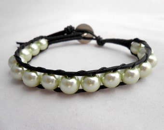 Leather and Pearls, Green Pearls, Wrap Bracelet, Leather Bracelet, Beaded Bracelet, Layered Bracelet, Pearl Bracelet