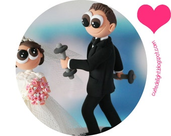Family cake topper, Wedding Cake Topper, pug cake topper, white dog cake topper, bichon cake topper, CUSTOM cake topper, FUNNY cake topper