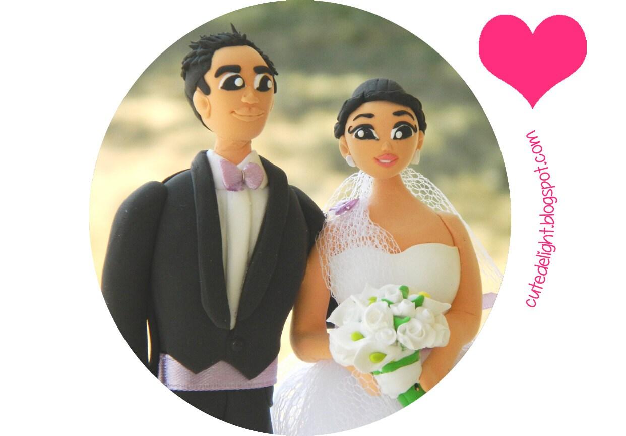 Cute Wedding Cake Topper Romantic cake topper CUSTOM cake