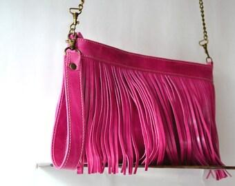 Fringe leather bag, Fuchsia fringe purse, Purse+clutch, Two in one