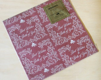 Vintage American Greetings Best Wishes to Both of You Wedding Bells Gift Wrap Two Sheets