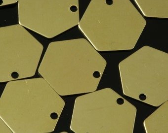 hexagonal tag 800 pcs 12 mm raw brass 1 hole charms ,findings 802R-360