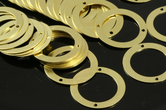 60 Pcs Raw Brass 25 mm Circle two 2 hole connector Charms ,Findings 8R-66