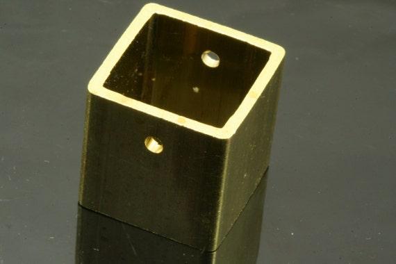 """2 pcs L320H Raw Brass Cubic Bead spacer 20 x 20 x 20 mm 0,79"""" x 0,79"""" x 0,79""""  finding industrial design (2,5 mm 0,1"""" 10 gauge hole)"""