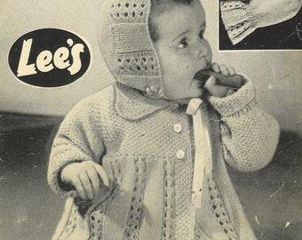 Bestway 1075 baby matinee coat and bonnet set vintage knitting pattern PDF