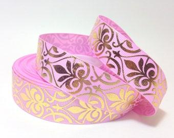 "7/8"" Pink/ Gold Damask Grosgrain Ribbon"