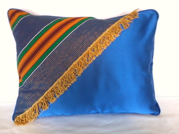 Decorative Pillow Royal Blue Satin and African Kente with