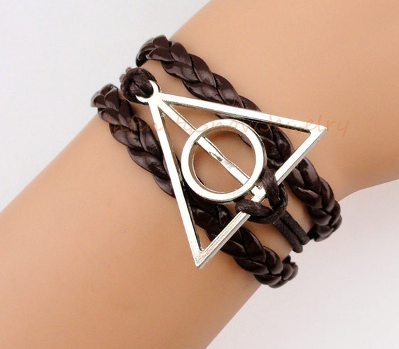 Deathly Hallows Charm Bracelet, Brown Wax Cord & Leather Braid, Harry Potter, Gift for Him, Christmas Gift, Friendship, Bridesmaid Gift